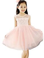 Vestido Chica de-Noche-Un Color-Algodón / Poliéster-Verano-Rosa / Blanco