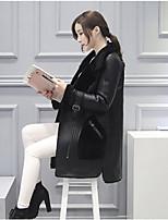 Женский На каждый день Однотонный Пальто с мехом Лацкан с тупым углом,Уличный стиль Зима Черный / Серый Длинный рукав,Козлиная кожа