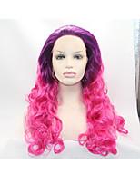 Sylvia синтетический парик фронта шнурка фиолетовые корни розовые волосы тепла ломбера волосы длинные волнистые стойкие синтетические