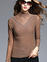 BOMOVO Women's Crew Neck Long Sleeve T Shirt Khaki-B16QAP5