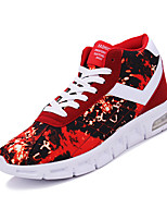 Men's Sneakers Spring Fall Comfort PU Athletic Flat Heel Lace-up Black Blue Red Other