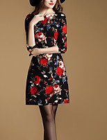 Women's Plus Size / Going out Vintage / Sophisticated Sheath Dress,Floral V Neck Above Knee ¾ Sleeve Black Cotton Fall / Winter Mid Rise