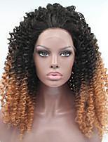 Sylvia Synthetic Lace front Wig Black Brown Ombre Hair  Heat Resistant Kinky Curly Synthetic Wigs