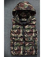 Men's Regular Padded Coat,Simple Casual/Daily Camouflage-Polyester Cotton Sleeveless Hooded Red / Gray / Green