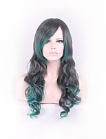 Black/Green Curly Ombre Feature Material Wigs for Women Style Shown Color Costume Wigs Cosplay Wigs