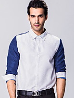 Men's Casual Vintage Fall Winter Long Sleeve Lapel Cotton Stitching Color Business Shirt