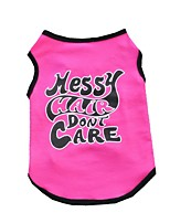 Cute Rose Messy Hair Don't Care Cotton Shirts for Pets Summer Dog Clothes