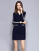 YICHAOFUSHI Women's Going out Street chic Sheath DressStriped V Neck Above Knee Long Sleeve Blue Polyester Fall High Rise -OMQ-Y1399-220