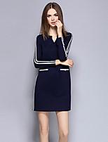 Gaine Robe Femme Sortie Chic de Rue,Rayé Col en V Au dessus du genou Manches Longues Bleu Polyester Automne Taille Haute Elastique Moyen
