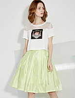 I'HAPPY Women's Solid White / Green SkirtsSimple Knee-length