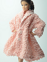 Casual More Accessories For Barbie Doll Pink Solid Coat For Girl's Doll Toy