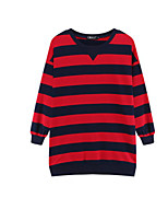 Women's Casual/Daily Simple Regular HoodiesStriped Pink / Red Round Neck Long Sleeve Cotton Fall