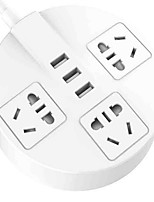 3 Hole With 3USB Trailer Board Round Socket (White 1.8 Meters)