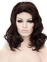 в Европе и Соединенных Штатах популярный темно-коричневый окрашенный полиэстер парик 16 дюймов длинные вьющиеся парик