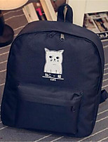 Women Canvas Casual Backpack White / Black