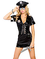 Cosplay Costumes Police Movie Cosplay Black Solid Dress / Hat Halloween / Carnival Female Polyester