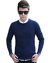 Men's Casual/Daily / Formal Simple Regular PulloverSolid Blue / Red Round Neck Long Sleeve Cotton Fall
