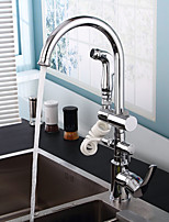 Contemporain Pull-out / Pull-down Montage Avec spray démontable / Pivotant / Douche with  Valve en céramique Mitigeur un trou for  Chromé