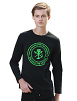 Men's Print / Letter Casual T-ShirtCotton Long Sleeve-Black