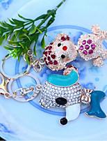 Animal Diamond Keychain Creative New Car Metal Keychain Bags Ornaments Car Accessories