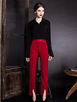 Chemise Femme,Couleur Pleine Sortie simple Printemps / Automne Manches Longues Col de Chemise Beige / Noir / Marron Polyester Opaque