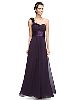 Lanting Bride® Ankle-length Chiffon Bridesmaid Dress - Elegant A-line One Shoulder with Flower(s) / Sash / Ribbon / Criss Cross