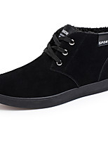 Men's Sneakers Fall Winter Comfort Leatherette Casual Flat Heel Lace-up Black Blue Walking