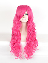 Fashion Heat Resistant Long Curly Pink Color Cosplay Synthetic Wig