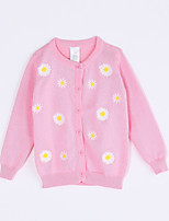 Girl Casual/Daily Floral Sweater & Cardigan,Cotton Fall