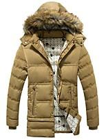 Пальто Простое / Шинуазери (китайский стиль) Длинная Парка Мужчины,Однотонный На каждый день / Нарядная / Большие размеры Полиэстер