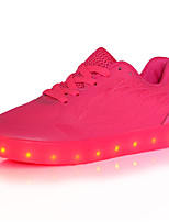 Damen-Sneaker-Outddor Lässig Sportlich-Tüll-Niedriger Absatz-Komfort Light Up Schuhe-Rot Weiß Hellgrün