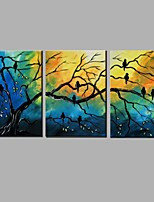 Hand-Painted Landscape / Animal 100% Hang-Painted Oil Painting,Modern / Pastoral Three Panels Canvas Oil Painting For Home Decoration