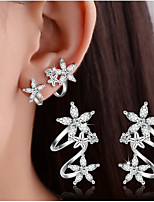 Women's Fine 925 Silver Flower Stud Clip Earrings with AAA Zircon Gift (1 Pair)