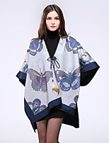NITE OWL  Women Polyester ScarfCasual RectangleBluePrint-16026