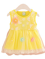 Girl's Casual/Daily Print Dress,Cotton Summer Pink / Yellow