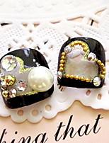 искусства ногтя продукты Ложное патч Floret ноги ногтей ногти пилюль 24 штук с клеем