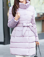 Women's Regular Padded CoatStreet chic Going out Solid-Polyester Polypropylene  Pink / White / Black / Gray / Green