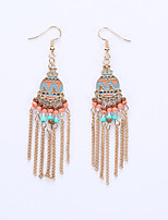 Europe And The United States National Wind Restoring Ancient Ways And Collars Fashion Disc Roman Style Earrings Long Tassel Earrings