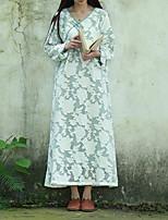 Женский На каждый день Шинуазери (китайский стиль) А-силуэт Платье Цветочный принт,V-образный вырез Макси Длинный рукав Белый Хлопок Весна