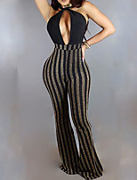 Women's Striped Gray JumpsuitsSexy / Simple Halter Sleeveless