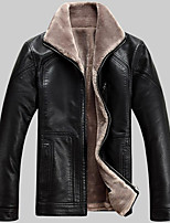 Men's Plus Size / Casual/Daily Simple Leather Jackets,Solid Long Sleeve Winter Black / Brown Lambskin
