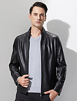 Xuebao Men's Casual/Daily Simple Leather JacketsSolid Stand Long Sleeve Winter Black Goatskin Medium