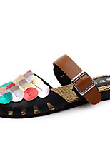 Women's Slippers & Flip-Flops Summer Comfort PU Casual Flat Heel Sequin / Others Black / White Others