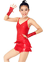 Dresses Performance Spandex / Paillettes / Sequins / Tassel(s) 5 Pieces Latin Dance Sleeveless NaturalDress /