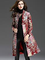 Женский На каждый день / Большие размеры Вышивка Тренч V-образный вырез,Изысканный Осень / Зима Красный Длинный рукав,Полиэстер,Средняя