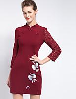 Gaine Robe Femme Sortie Vintage,Broderie Mao Au dessus du genou Manches Longues Rouge Autres Eté Taille Normale Non Elastique Moyen