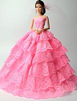 Принцесса Платья Для Кукла Барби Розовый Кружева Платья Для Девичий игрушки куклы