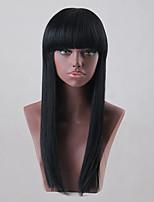 Peruca de cabelo humano preto longo natural elegante preto