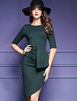 Women's Plus Size / Going out Sophisticated Bodycon Dress,Solid Round Neck Above Knee ½ Length Sleeve Green Polyester Fall Mid Rise