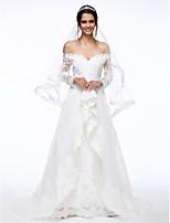 Lanting Bride® A-라인 웨딩 드레스 스윕 / 브러쉬 트레인 오프 더 숄더 레이스 / 오간자 와 비즈 / 꽃장식 / 아플리케